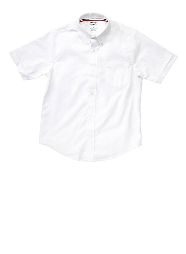 Boys 4-7 Short Sleeve Oxford Shirt School Uniform,WHITE,large