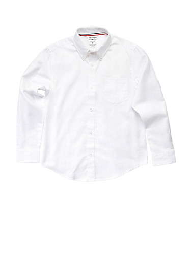 Boys 4-7 Long Sleeve Oxford School Uniform Shirt,WHITE,large