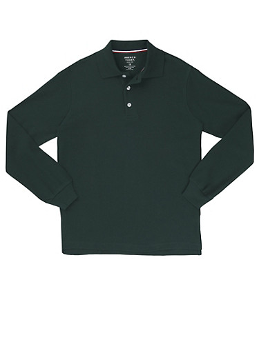 Boys 4-7 Long Sleeve Pique Polo School Uniform,HUNTER,large