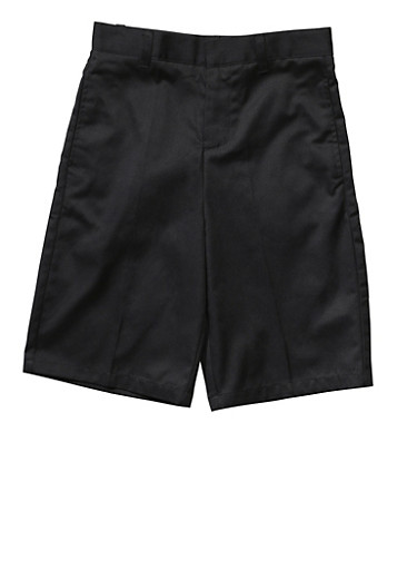 Boys 4-7 Flat Front Adjustable Waist Shorts School Uniform,BLACK,large
