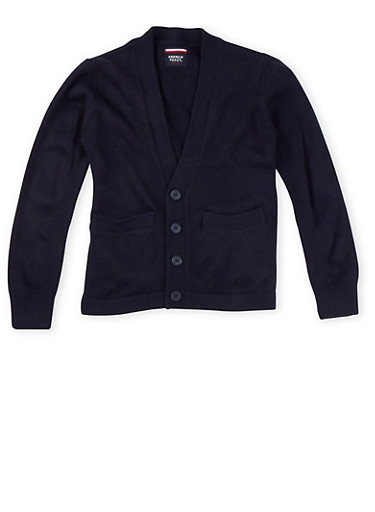 Boys 4-7 Cardigan Sweater School Uniform,NAVY,large