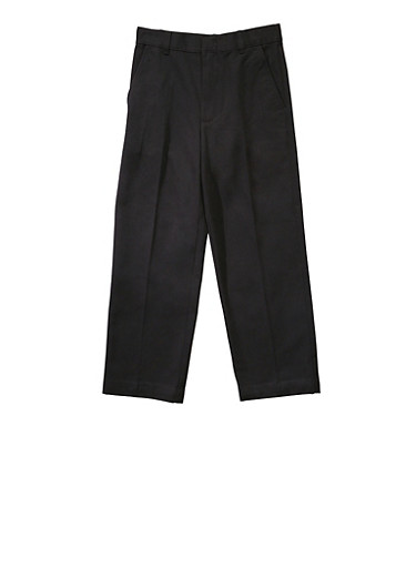 Boys 8-14 Adjustable Waist Straight Leg Twill School Uniform Pants,BLACK,large