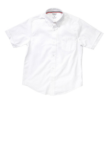 Boys 16-20 Short Sleeve Oxford Shirt School Uniform,WHITE,large