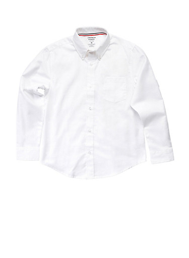 Boys 16-20 Long Sleeve Oxford School Uniform Shirt,WHITE,large