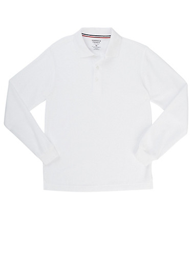 Boys 16-20 Long Sleeve Pique Polo School Uniform,WHITE,large