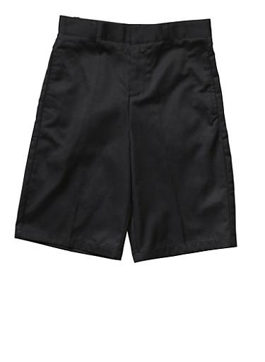 Boys 16-20 Flat Front Adjustable Waist Shorts School Uniform,BLACK,large