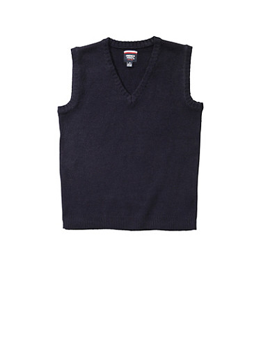 Boys 16-20 Navy Sweater Vest School Uniform,NAVY,large