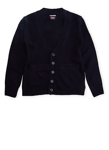 Boys 16-20 Cardigan Sweater School Uniform,NAVY,large