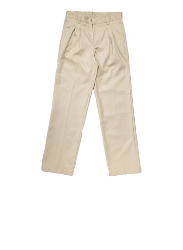 Boys Husky Adjustable Waist Pleated Double Knee Pants School Uniform,KHAKI,large