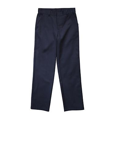 Boys Husky Adjustable Waist Straight Leg Twill School Uniform Pants,NAVY,large