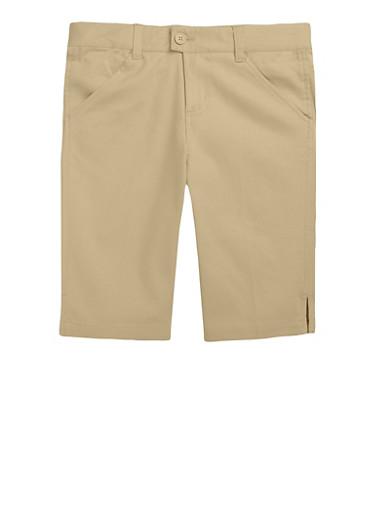 Girls 4-6X Bermuda Shorts School Uniform,KHAKI,large