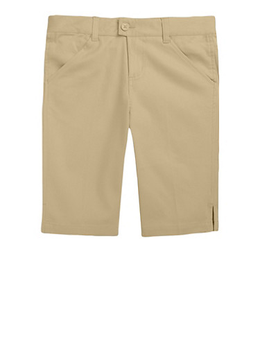 Girls 16-20 Bermuda Shorts School Uniform,KHAKI,large