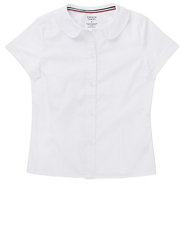 Girls 2T-4T Short Sleeve Peter Pan School Uniform Blouse,WHITE,large