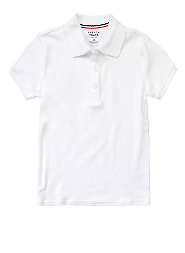 Girls 2T-4T Short Sleeve Interlock Polo School Uniform,WHITE,large