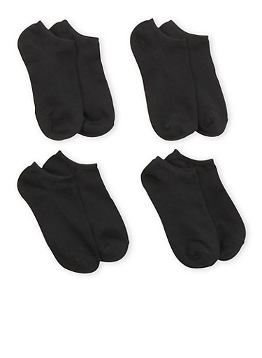 Plus Size Ankle Socks 4 Pack,BLACK,large