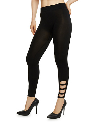 Solid Leggings with Lattice Detail,BLACK,large