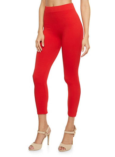 Solid Cropped Leggings,RED,large