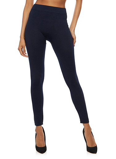 Solid Basic Leggings,NAVY,large