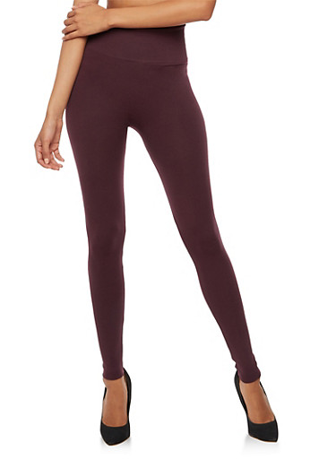 Plum Waffle Knit Leggings,PLUM,large