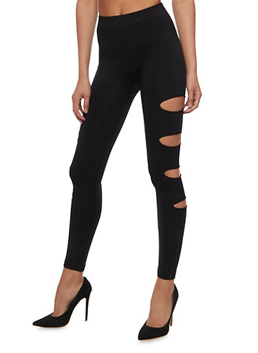 Cutout Side Leggings,BLACK,large