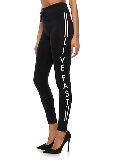 Live Fast Graphic Leggings,BLACK,large