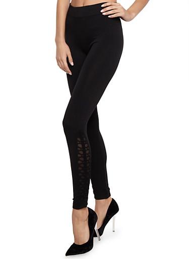 Side Laser Cut Out Leggings,BLACK,large