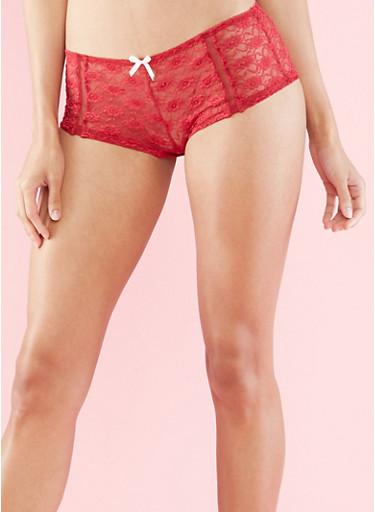 Lace Boyshort Panties,WINE/SAND,large