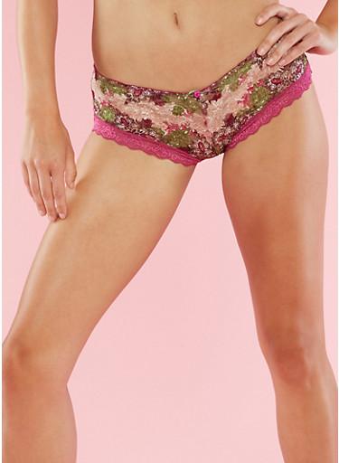 Printed Mesh Hipster Panties,BATON ROUGE/OLIVE,large