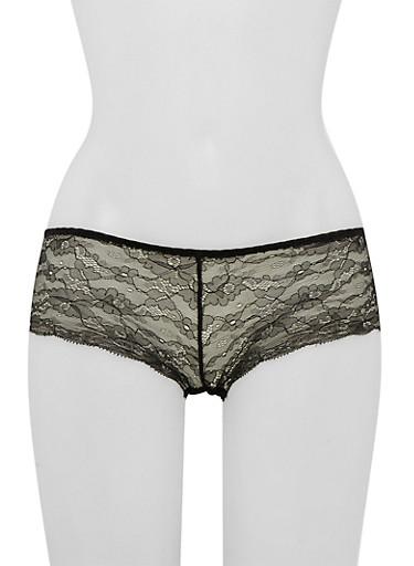 Lace Boyshort Panties with Cutout,BLACK,large