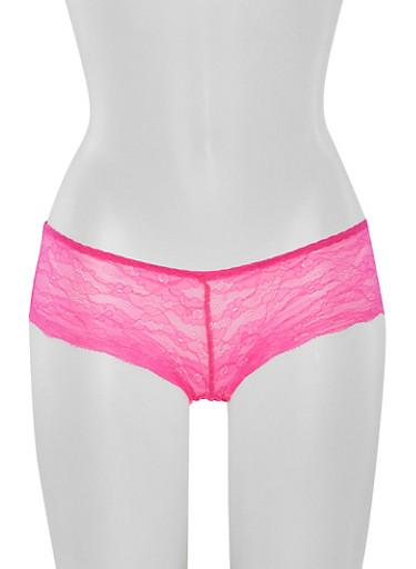 Lace Boyshort Panties with Cutout,FUCHSIA,large