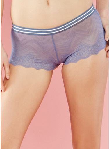 Lace Boyshort Panties with Striped Elastic Band,STONE WASH,large