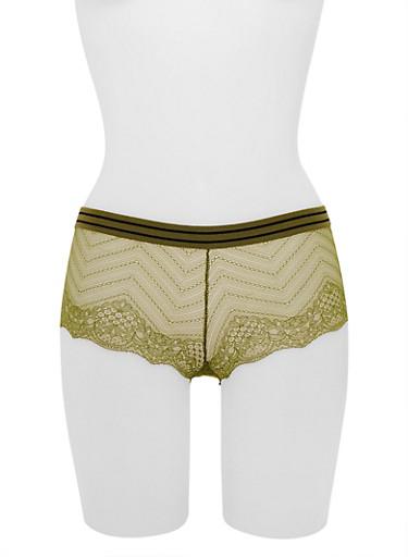 Lace Boyshort Panties,OLIVE/NAVY,large