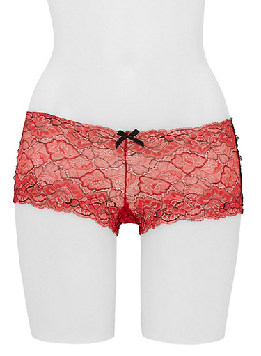 Floral Lace Boyshort Panty,RED/BLK,large