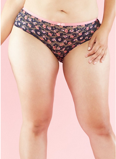 Plus Size Floral Lace Panties with Back Keyhole,DARK NAVY,large