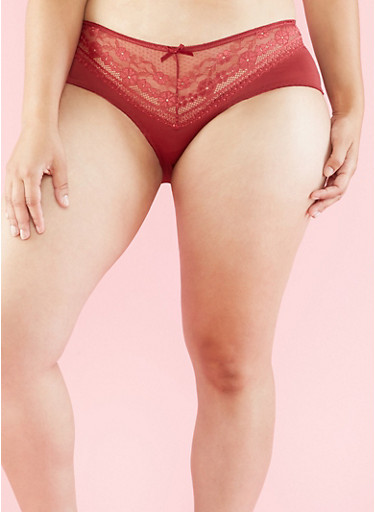 Plus Size Lace Hipster Panties,WINE (RUBY),large