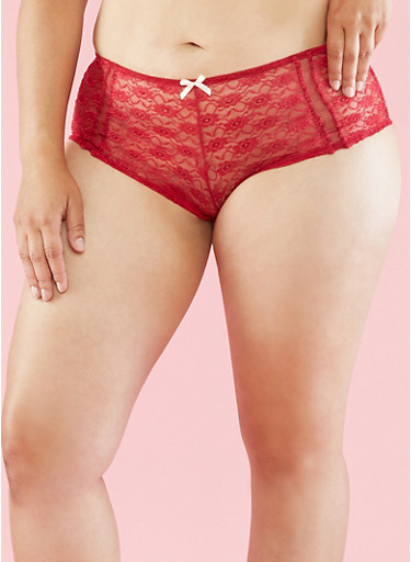 Plus Size Lace Boyshort Panties,WINE/SAND,large