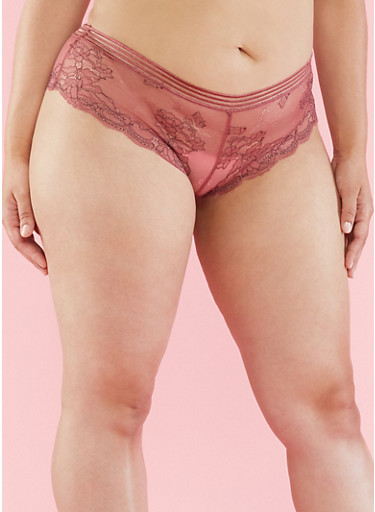 Plus Size Scalloped Lace Hipster Panties,BLUSH,large