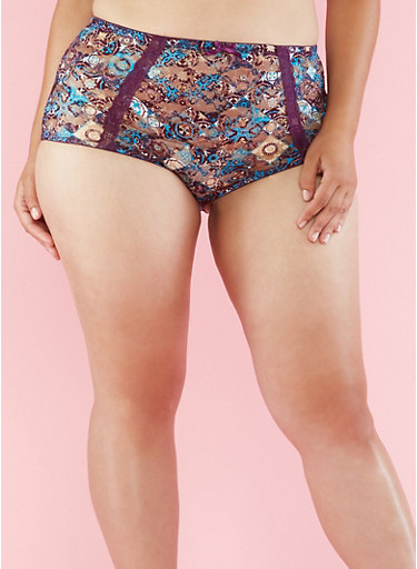 Plus Size Printed Lace Boyshort Panties,PLUM,large