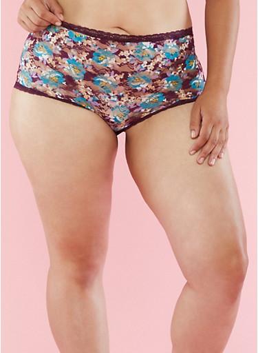 Plus Size Floral Lace Boyshort Panties,PLUM,large