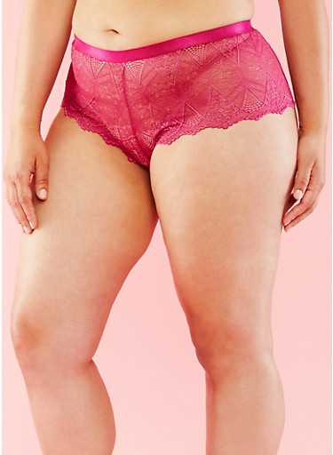 Plus Size Printed Lace Boy Short Panties with Elastic Trim,BATON ROUGE,large