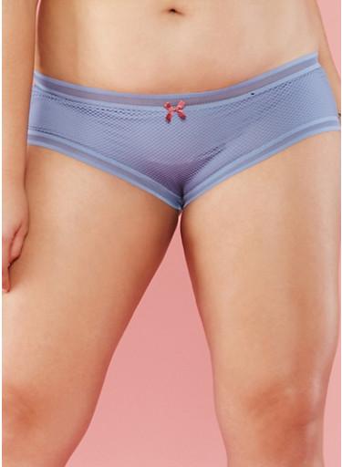 Plus Size Fishnet Boyshort Panties,STONE WASH,large