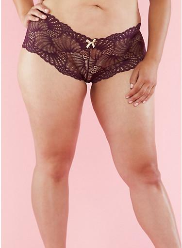 Plus Size Lace Hipster Panties,PLUM,large