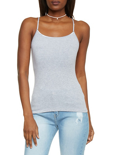 Classic Knit Spaghetti Strap Cami Top,HEATHER,large