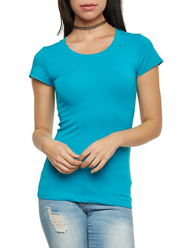 Solid Knit Top with Scoop Neck,JADE,large