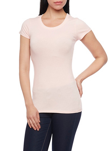 Solid Knit Top with Scoop Neck,BLUSH,large