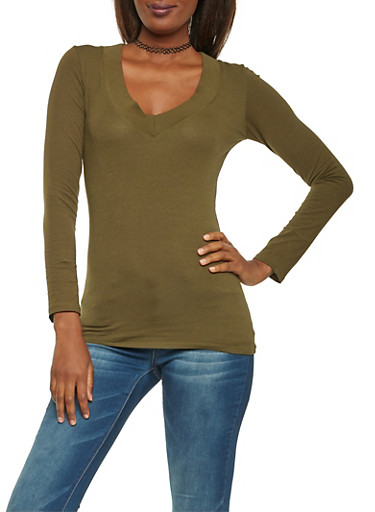Long Sleeve V Neck Top,OLIVE,large