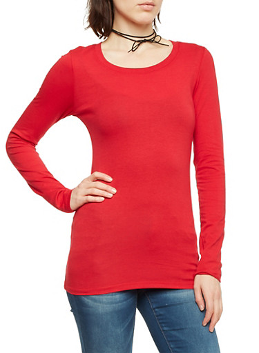 Long Sleeve Top with Scoop Neck,DEEP RED,large