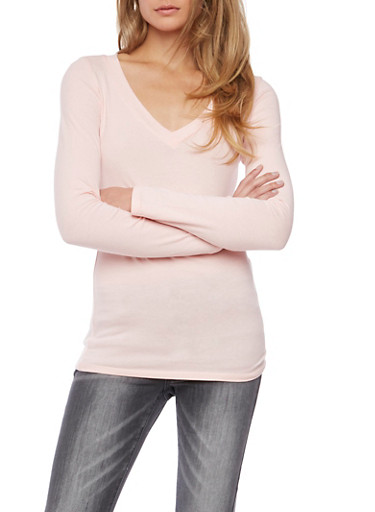 Long Sleeve Top with V Neck,BLUSH,large