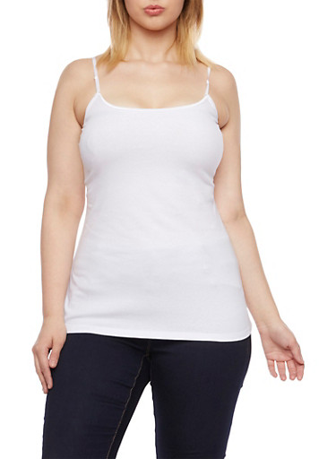 Plus Size Tank Top with Spaghetti Straps,WHITE,large