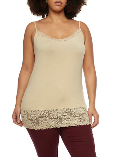Plus Size Tank Top with Lace Trim,SESAME,large